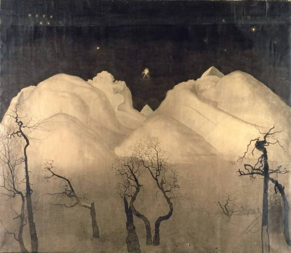 Harald Sohlberg (Norwegian 1869 - 1935) , Winter Night in the Mountains 1921